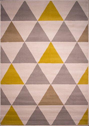 """""""Milan"""" Moderner Teppich mit Harlekin Dreiecksmuster für das Wohnzimmer in Ocker-, Gelb-, Grau- und Beigefarbtönen 160cm x 230cm"""