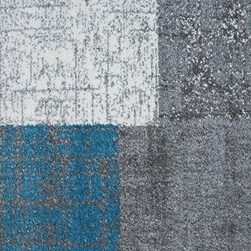 VIMODA Teppich Kurzflor in Türkis Blau Grau und Weiß Wohnzimmer Teppiche Modern Kachel-Optik Pflegeleicht, Maße:200x290 cm
