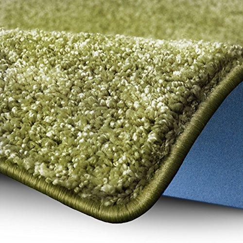 Shaggy Teppich Bali | weicher Hochflor Teppich für Wohnzimmer, Schlafzimmer und Kinderzimmer | mit GUT-Siegel | verschiedene Größen | viele moderne Farben (66 x 130 cm, grün)