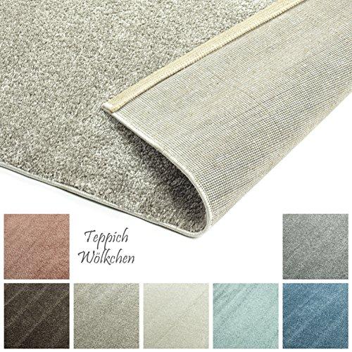 Designer-Teppich Pastell Kollektion | Flauschige Flachflor Teppiche fürs Wohnzimmer, Esszimmer, Schlafzimmer oder Kinderzimmer | Einfarbig, Schadstoffgeprüft (Taupe Vizon, 40 x 60 cm)