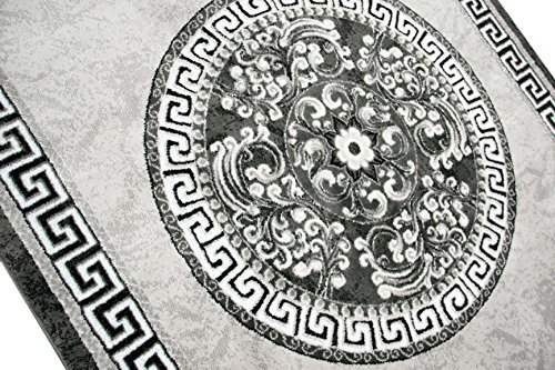 Moderner Teppich Designer Teppich Orientteppich mit Glitzergarn Wohnzimmer Teppich mit Bordüre und Kreismuster in Grau Anthrazit Creme Größe 80x150 cm