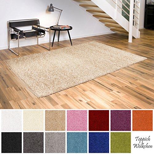 Shaggy-Teppich | Flauschige Hochflor Teppiche fürs Wohnzimmer, Esszimmer, Schlafzimmer oder Kinderzimmer | einfarbig, schadstoffgeprüft, allergikergeeignet (Beige, 60 x 90 cm)