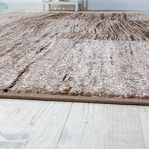 Paco Home Designer Teppich Modern Wohnzimmer Teppiche Kurzflor Karo Meliert Braun Beige, Grösse:160x220 cm