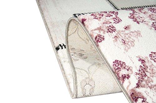 Edler Designer Teppich Moderner Teppich Wohnzimmer Teppich Patchwork Vintage Meliert Karo Muster in Lila Creme Grau Rosa Schwarz Größe 120x170 cm