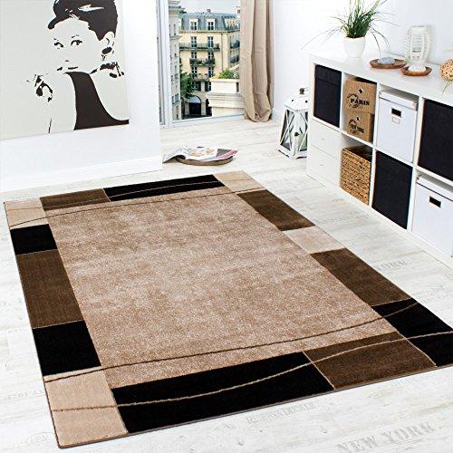 Paco Home Designer Teppich Wohnzimmer Teppich Modern Bordüre in Braun Beige Preishammer, Grösse:160x220 cm