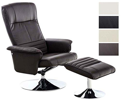 CLP TV-Stuhl ELESTRIA mit Hochwertiger Polsterung und Kunstlederbezug I Fernsehsessel mit Verstellbarer Rückenlehne I Chefsessel Inklusive Hocker I in Verschiedenen Farben erhältlich Braun