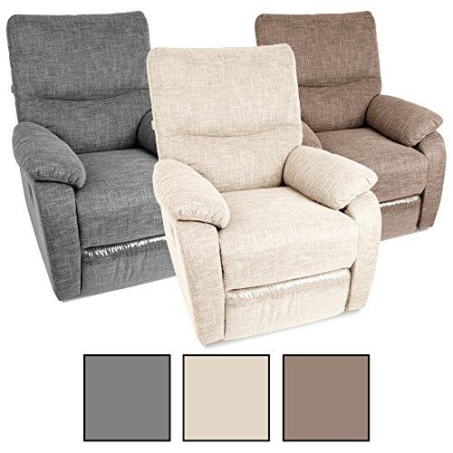 Estexo® Fernsehsessel TV Sessel Verstellbar Relaxsessel Liegesessel Polstersessel Stoff (Beige)