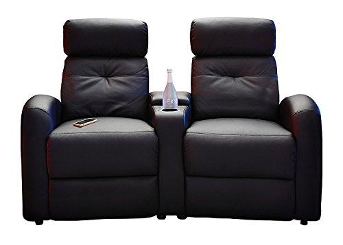 Fernsehsessel-Set Cinema-Sessel Doppelsessel Hollywood | Schwarz | Kunstleder | Mit Liegefunktion | Getränkehalter