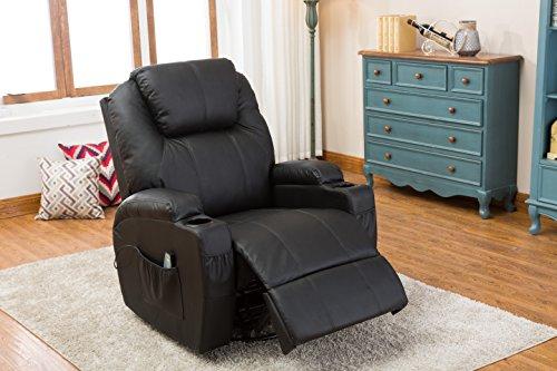 MCombo Massagesessel Fernsehsessel Relaxsessel mit Heizung Dreh Schaukel Schwarz