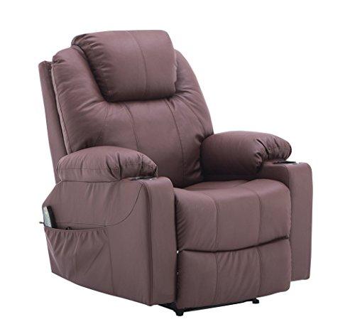 MCombo Massagesessel Fernsehsessel Relaxsessel mit Vibration+Heizung 7031 (Braun)