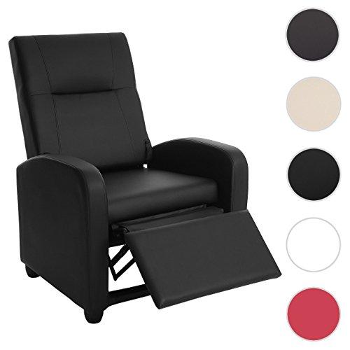 Mendler Fernsehsessel Denver Basic, Relaxsessel Relaxliege Sessel, Kunstleder ~ Schwarz