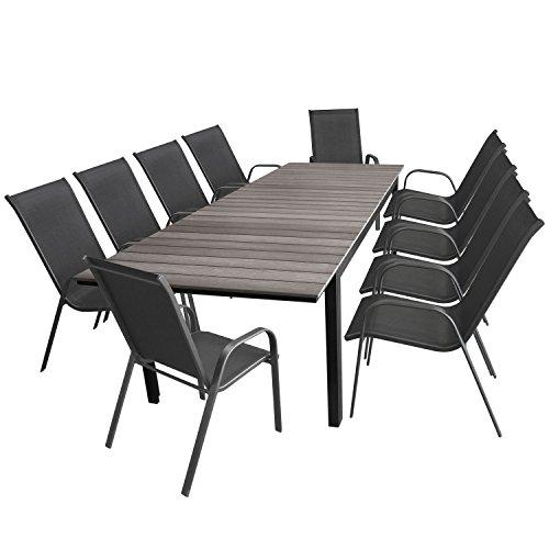 Multistore 2002 11tlg. Sitzgruppe, Aluminium, Polywood Grau, 160/210/260x95cm + 10x Gartenstuhl stapelbar Stahlgestell pulverbeschichtet Textilenbespannung Anthrazit