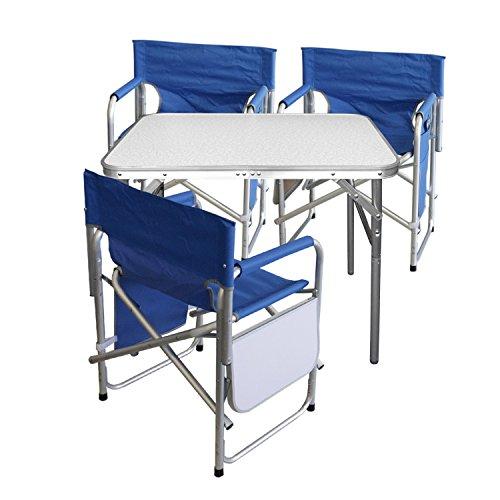Multistore 2002 4tlg. Campingmöbel Set Gartengarnitur Campingtisch Alu Klapptisch 75x55x60cm + 3X Alu Campingstühle Klappstuhl Anglerstuhl mit Ablage und Organizer Blau
