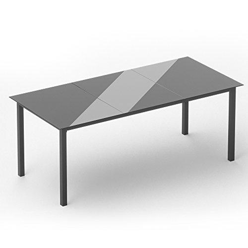 OSKAR Alu Gartentisch 190x87cm Anthrazit Esstisch Terrassentisch Gartenmöbel Glasplatte Balkontisch Tisch