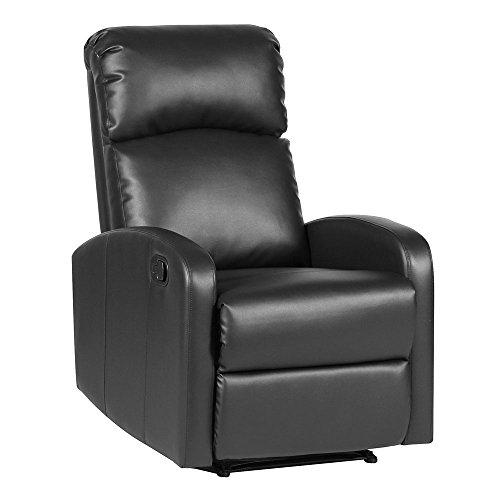 SVITA Relaxsessel Fernsehsessel Ruhesessel mit verstellbarer Beinablage und Liege-Funktion – Kunstleder Farbwahl (Schwarz)