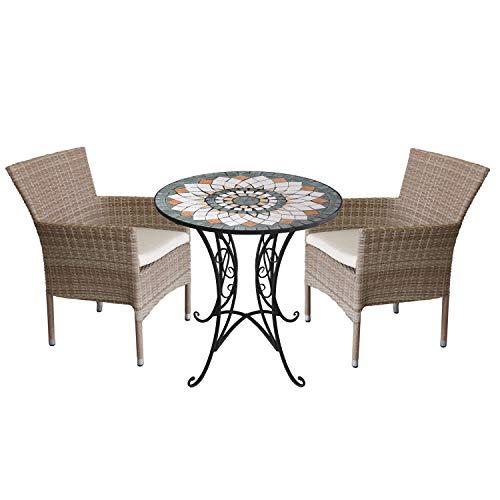 Wohaga 3tlg. Sitzgarnitur Gartenmöbel-Set Mosaiktisch Ø70cm + 2X Rattansessel, stapelbar, Polyrattan Natur, inkl. Kissen beige
