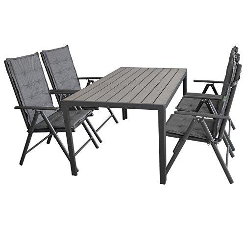 Wohaga Gartenmöbel-Set Gartentisch, Aluminiumrahmen Anthrazit, Tischplatte Polywood Grau, 150x90cm + 4X Hochlehner, 2x2 Textilenbespannung, Lehne 7-Fach verstellbar + 6X Stuhlauflage